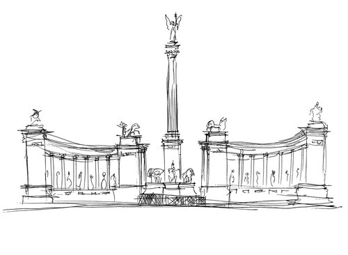 budapest  heroes ' square  statue