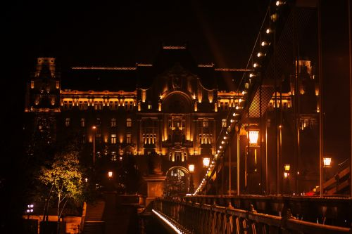 budapest by night danube bridge lights landscape