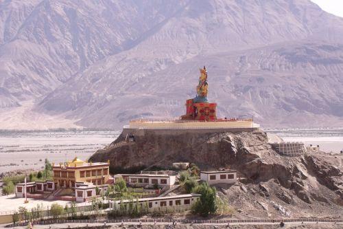 Indija, Ladakh, Himalajus, nubra, buda, statula, buda