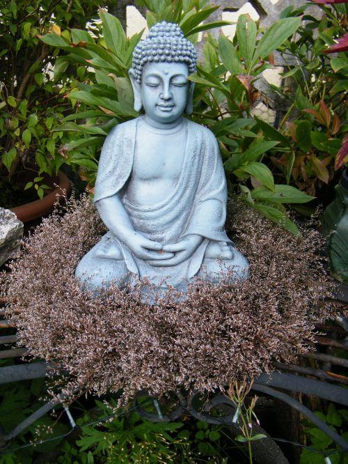 buddha in the garden budda wreath
