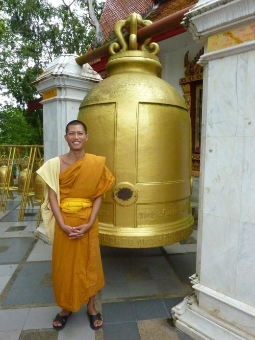 buddhist monk thailand bell