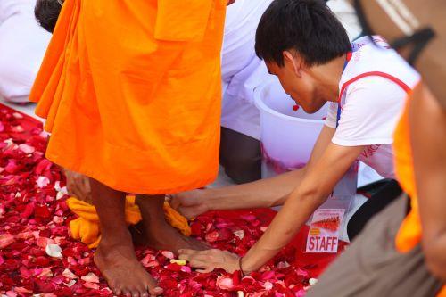 buddhists monks walk