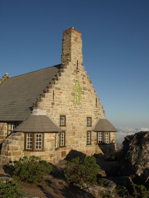 building shop at the top table mountain