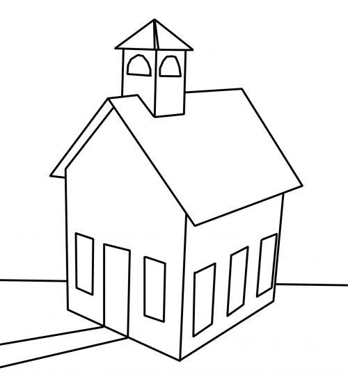juoda, balta, kontūrai, linija, piešimas, bažnyčia, mokykla, pastatas, pastato kontūrai