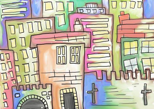 buildings cartoon painting