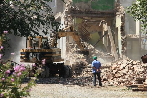 bulldozer demolition the destruction of