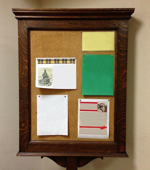 bulletin board wood antique