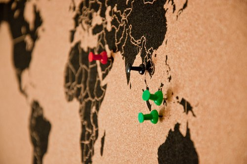 bulletin board  pin board  map of the world