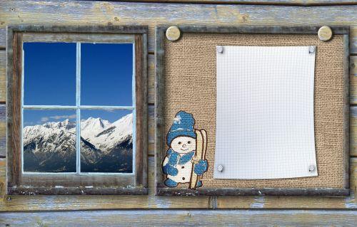 bulletin board winter sports snow man