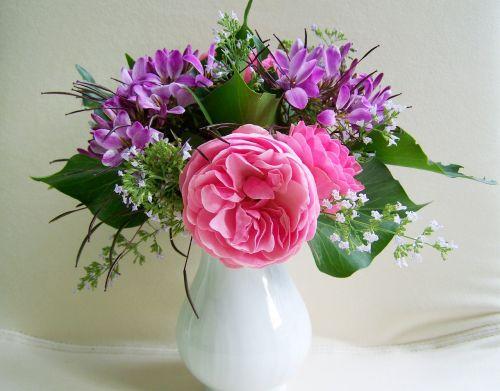 bunch of flowers purple-pink flowers cut flower