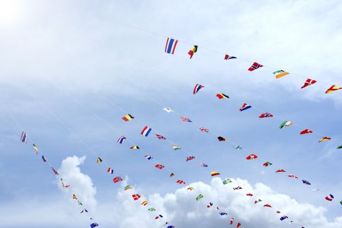 bunting sports day clear skies