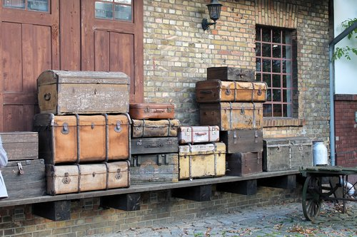 burg train station  old suitcase  collection