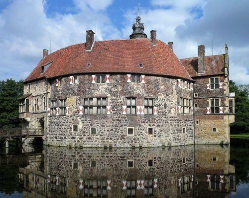 burg vischering,pilis,Moat,Lüdinghausen,Vokietija,westphalen,Vokietija