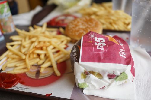 burger french fries burger set