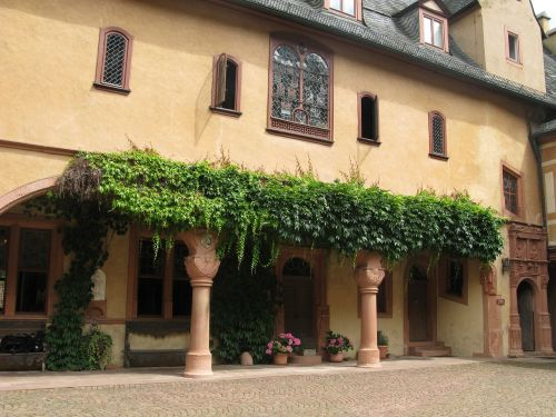 burghofas,schlosshof,mespelbrunn,spessart,arcade,moatiška pilis