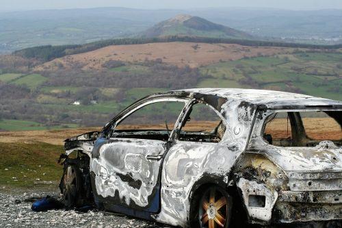 burnt car relic