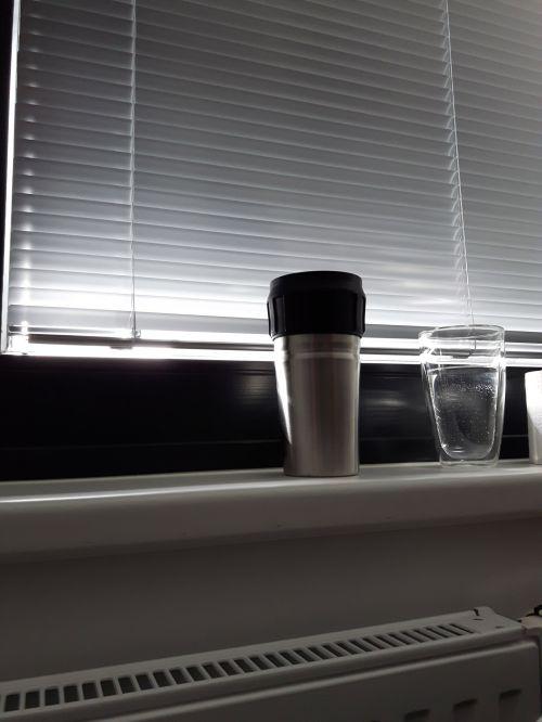 biuras, kambarys, taurė, termo, puodelis, langas, Sims, rėmas, žaliuzės, žyma, biuras