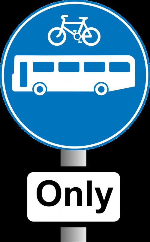 bus bike road sign