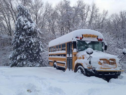 bus winter snow