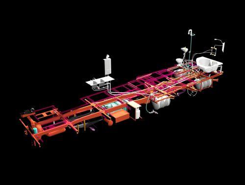 bus 3d modelling plumbing