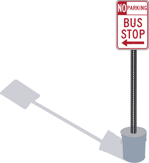 bus stop road signs signposts
