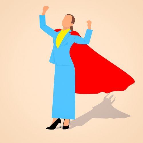 verslas,galia,sėkmė,laimėjimas verslininkė,raudona,Super herojus,viršūnė,pakelti kumšteliai,darbuotojas,moteris,animacinio filmo herojus,idėja