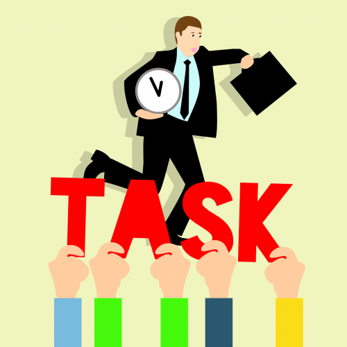 business tasks hurry up to work idea