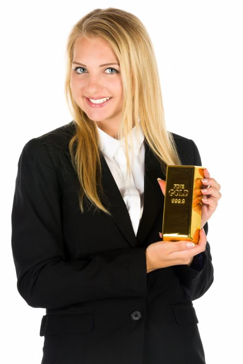 Business Woman And A Gold Bar