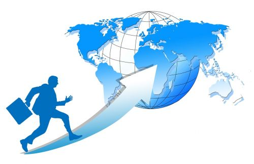 businessman silhouette globe