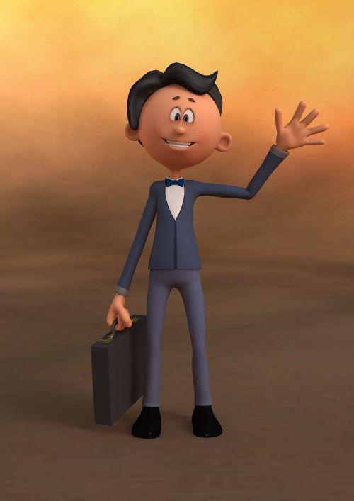 businessman waving briefcase
