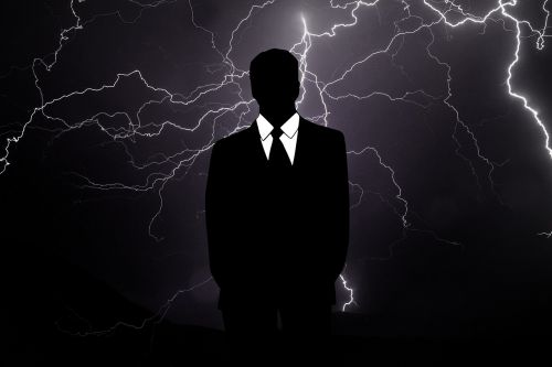 businessman crisis rain