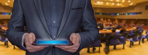 businessman  tablet  seminar