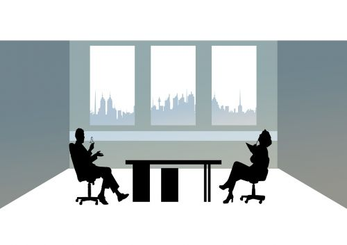 businessmen office silhouettes