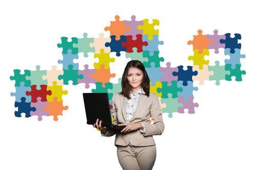 businesswoman business puzzle