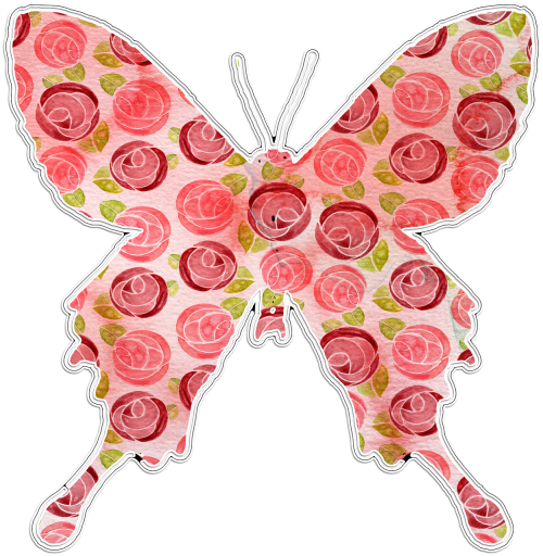 butterfly pink floral clipart