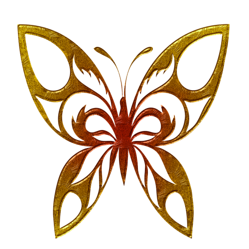 butterfly abstract gold embossed