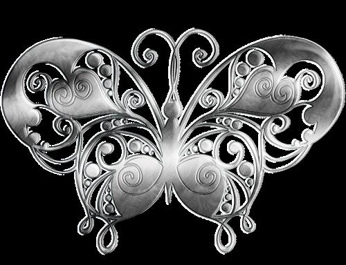 butterfly metal silver