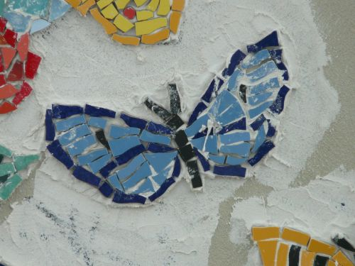butterfly mosaic blue