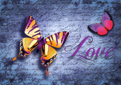 butterfly typography love letter