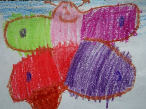 butterfly children drawing colorful
