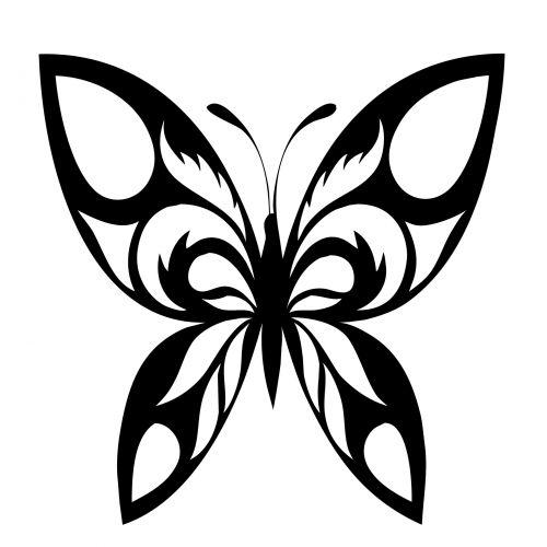 Butterfly Silhouette Black Motif