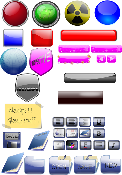 buttons glossy shield
