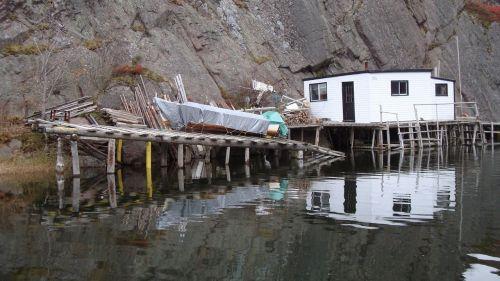 cabin dock reflection