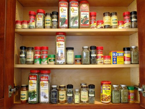 cabinet spices orderly