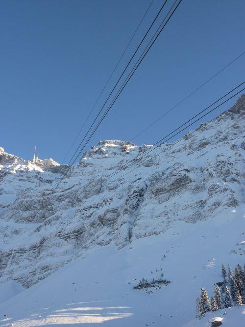 cable car säntis snow