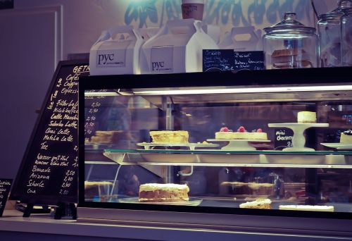 cake pastry counter bistro