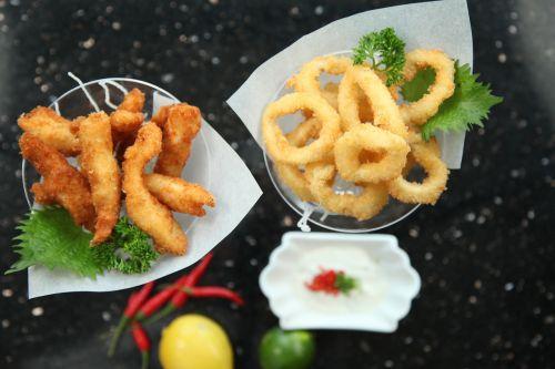 calamari fried chicken fingers snacks