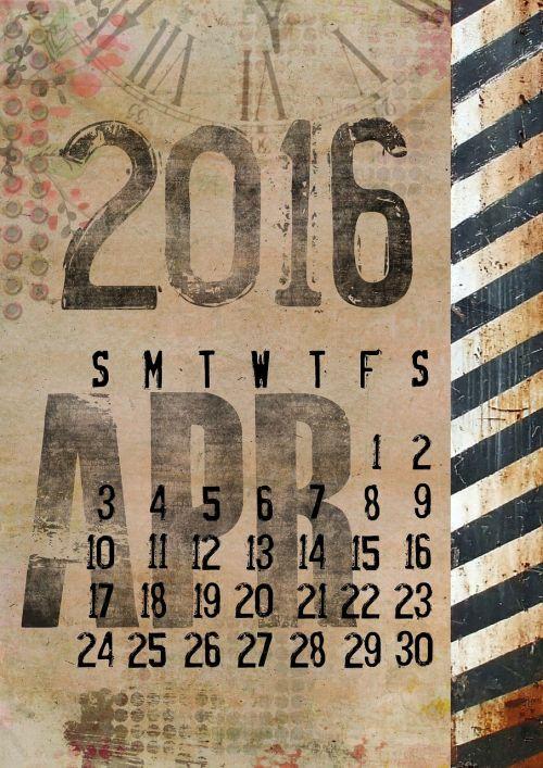 calendar 2016 april