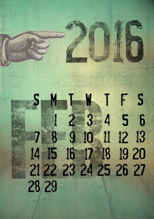 calendar 2016 february