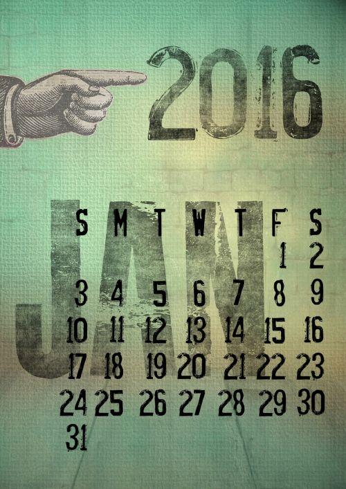calendar 2016 january
